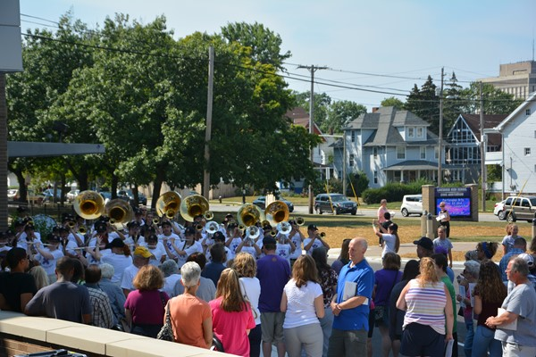 Crowd watches Ranger Marching Band.