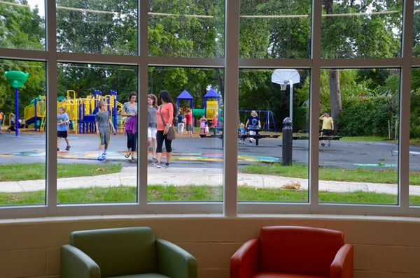 The view from the LRC overlooking the playground.