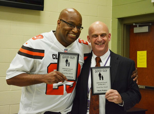 Good Guys award winners Kenneth Johnson (left) and Garfield Middle School Principal Mark Walter.