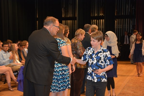 7th grader Joe Daso receives his award from Superintendent Patterson.