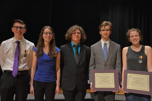 National Merit Scholars from left: Commended Scholars Evan Suttell and Rhianna Zuby, Semifinalist William Horschke, and Finalists Ian Bell and Rachel Daso.