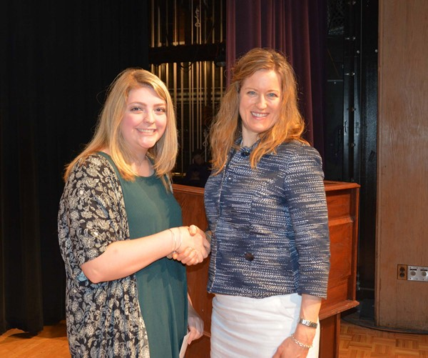 Lakewood Leadership Team scholarship recipient Clare Franciscus with LLT representative Dr. Merritt Waters, principal of Horace Mann Elementary.