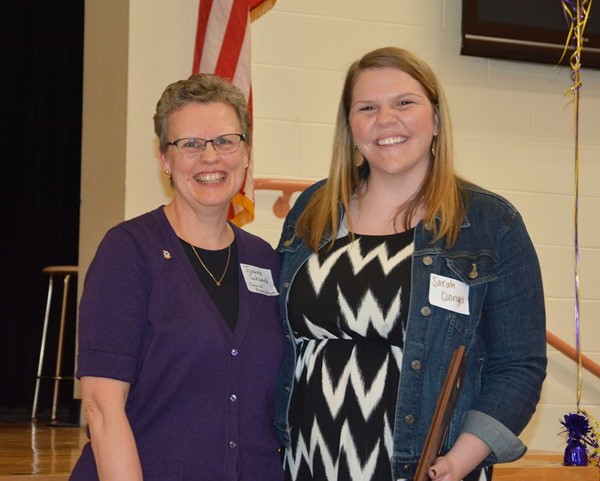 Council President Joanne Schwark with Educator of the Year Sarah Csongei.