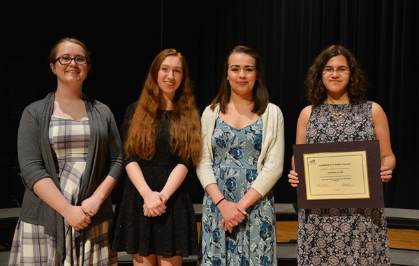 National Merit Scholars (from left): Commended Scholars Bailey Manke, Claire Walkosak, Eva Wynn and Finalist Veronica Lee.