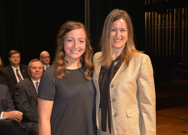 Lakewood Leadership Team scholarship recipient Alicia Boatman with Dr. Merritt Waters.
