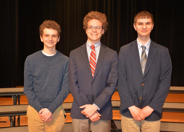 Commended Scholars (from left): Andrew Sheldon, Tim Daso, Nick Cleary