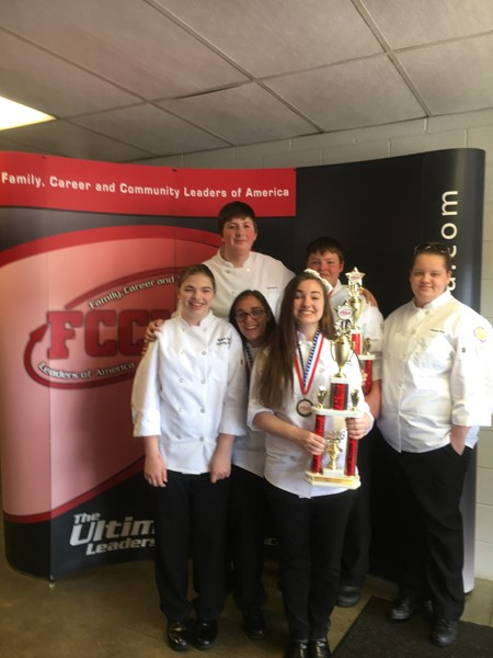 Culinary Arts Students Competing at the 2016 FCCLA State Competition for: Culinary Team, Garde Manger, Pastry Tray and Cake.