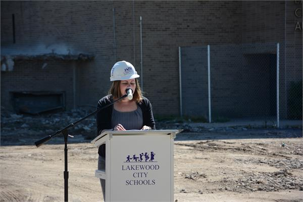 Board President Emma Petrie Barcelona shared the history of the buildings that were formerly on the site.