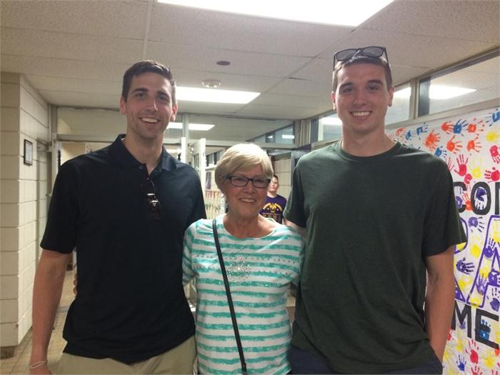 The Andreani boys, Mike & Jay, visit with former teacher Linda Mansell.