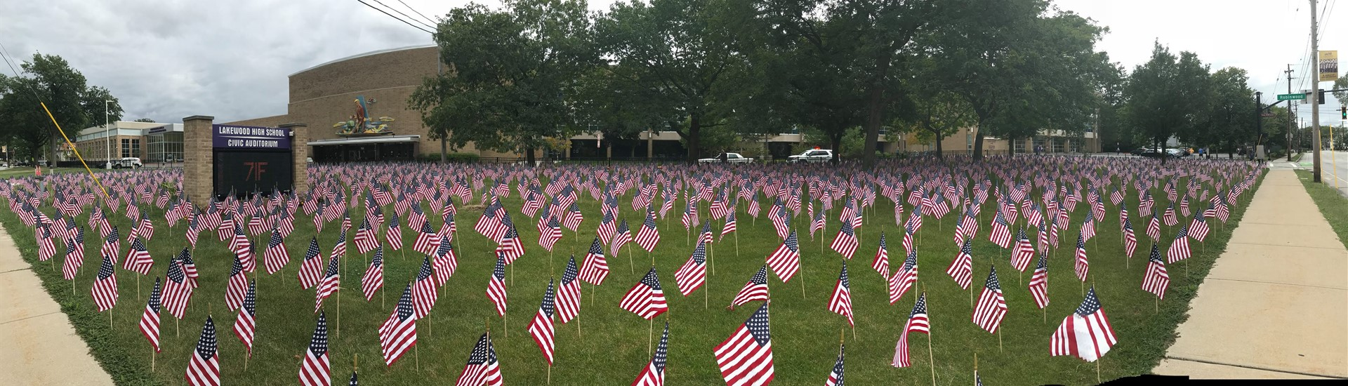 9-11 flags at LHS