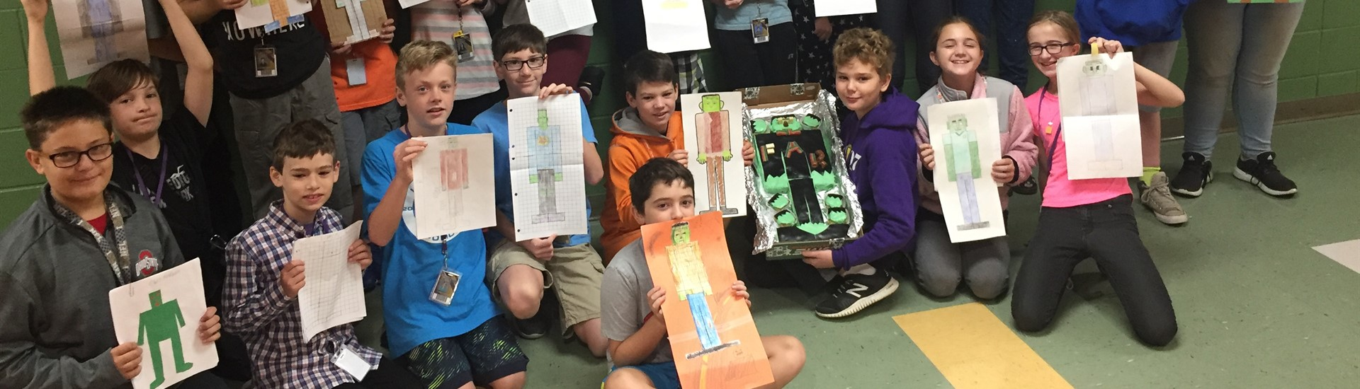 Mr. Kerney's math class displays their Frankenstein creations