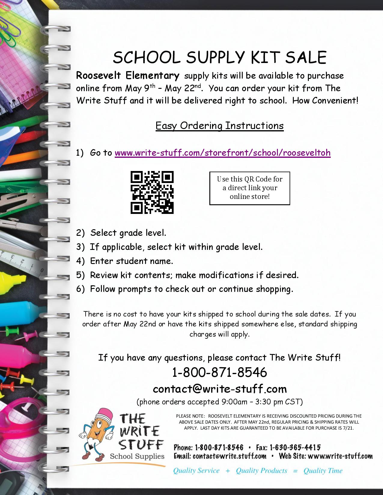 School Supply Sale with Write Stuff